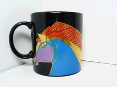 Laurel Burch Mug - Wild Stallions - Coffee Cup - Vintage Designer Pop Art - Mod Art 1990's - Laurel Burch Design Studio #Fashion #Vintage #Jewelry