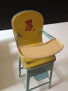 J Chein Antique Tin Metal Doll House Furniture Baby High Chair