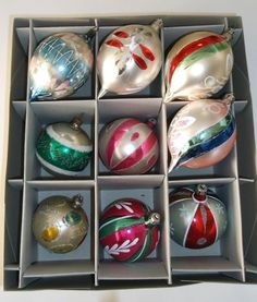 There are four long gorgeous teardrop ornaments, plus five round mercury glass ornaments- all but one from Poland. Christmas Town, Christmas Scenes, Rustic Christmas, All Things Christmas, Christmas Ideas, Christmas Crafts, Christmas Decorations, Antique Christmas Ornaments, Vintage Ornaments