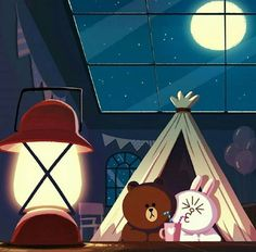 // Patrizia Conde Cute Couple Cartoon, Cute Couple Art, Cartoon Pics, Cute Love Pictures, Cute Love Gif, Line Cony, Cony Brown, Brown Bear, Chibi Cat