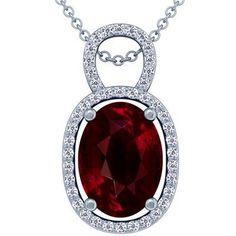 Platinum Oval Cut Ruby And Round Diamond Pendant GemsNY. $102402.00. Save 50% Off!