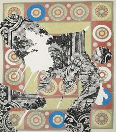Sigmar Polke (German, 1941-2010), Untitled, 2002. Acrylic on printed fabric, 126 x 111 cm