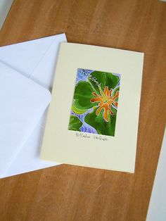 Green Ibiscus Greeting card with envelop by valeriatelier on Etsy