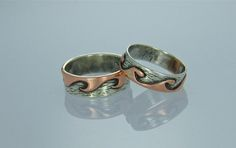 His & Hers couples wedding handmade 925 sterling silver on silver,copper on silver or 18K yellow gold on silver waves ocean sea surf rings by Mandalishop on Etsy
