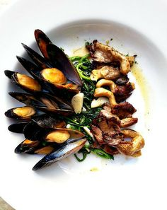 Mussels in buttery miso broth, watercress and oyster mushrooms - Christine Ma