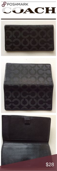 COACH black logo CC signature checkbook holder Black Authentic  CC logo checkbook holder .. gently used. 💕 Coach Bags Wallets
