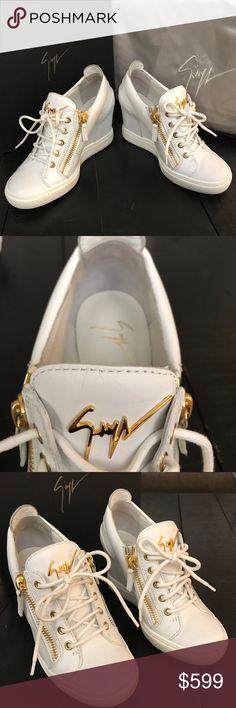 Giuseppe Zanotti Wedge Sneakers 37.5New White Gold Coming Giuseppe Zanotti Shoes Heels #giuseppezanottiheelswhite