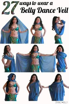 27 Ways to Wear a Belly Dance Veil in 5.5 minutes! - SPARKLY BELLY