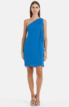 JS Boutique Pleat One-Shoulder Crepe Dress | Nordstrom
