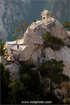 Mt. Hua Shan, China. World's most dangerous trail up to the top where the food is free if you make it there!