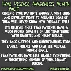 This ends Lyme Disease Awareness month. It is important to be understanding and supportive to those with Lyme. Their fight is very difficult. They lose their independence, their friends, their family, their mind & knowledge and their quality of life. Words can not even describe how difficult of a fight this is.  To see all 32 of the facts from Lyme Disease Awareness month, they are here: http://lymiegreen.blogspot.com/2013/05/daily-lyme-facts.html. Also true for m.e. and me.  JJ
