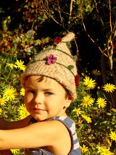 Crochet children pixie hat brown with flowers and by OwlyStitch