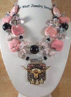 Cowgirl Necklace Set - Chunky Pink Howlite Turquoise and Black Agate with a Texas Longhorn Pendant - pinned by pin4etsy.com