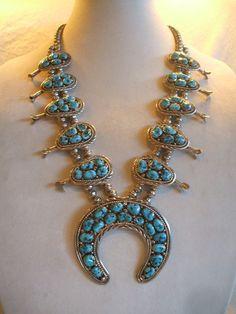 Huge Signed Vintage NAVAJO Sterling & Turquoise Cluster SQUASH Blossom Necklace