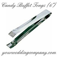 Stainless steel tongs can be used for serving candy at your wedding, in cold food preparation or when preparing salads.