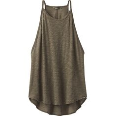 PrAna You Tank - XL - Cargo Green - Shirts ($35) ❤ liked on Polyvore featuring tops, shirts, green, burn out shirt, green tank top, green top, high neck tank and high neck tank top