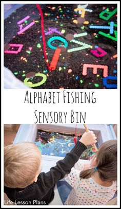 Alphabet Fishing Sensory Bin with DIY perler bead letters --> What a great idea for a fun activity with letters! Really allows you to talk about each letter in a natural way and practice recognition. Play Based Learning, Learning Through Play, Learning Activities, Kids Learning, Educational Activities, Sensory Bins, Sensory Activities, Preschool Activities, Sensory Table