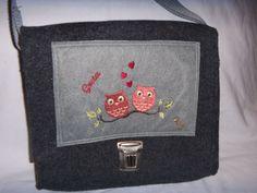 Kindertasche,Beutelhuhn,verliebte Eulen,Wollfilz,anthrazit,mit Wunschname