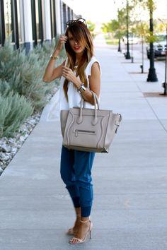Blue // White | Styled Avenue Top: Zara  Bottoms: Wayf  // Loving THESE  Shoes: Zara Sunnies: Celine Bracelets:StyleLately Handbag: Celine