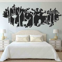 Videos can be customized large-scale forest Silhouette entrance living room bedroom wall painting decorative wall stickers stickers deer woods -tmall.com Lynx