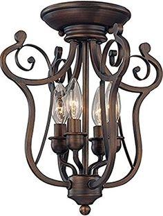 "Bronze Iron Semi Flush Mount Ceiling Light Fixture Graceful Harp Scroll Design Chandelier Pendant Light Fixture 4 Lights 13""Wx14""H - - Amazon.com"