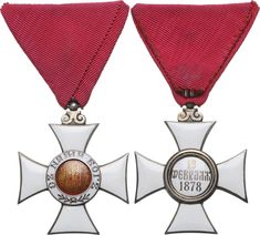 BULGARIA - ORDER OF SAINT ALEXANDER | 5th Class Cross (Knight), 2nd Type, instituted in 1881. Breast Badge, 38 mm, Silver, both sides enameled, both central medallions silver gilt, enameled,