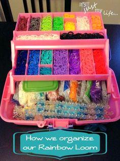 Tackle Box Organizing for Rainbow Loom plus other ideas for organizing Rainbow Looms.