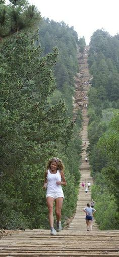 The Manitou Incline near Colorado Springs Colorado is said to be one of the most challenging and unique trails in the Country. Olympic athletes and military personnel train on this vertical wonder that gains 2,000 feet in elevation over less than 1 mile. by Phantom8Hive