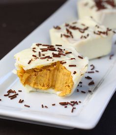 """Liv Life: White Chocolate Pumpkin Pie Cups -- """"Filled with pumpkin, pumpkin pie spices, crushed graham crackers and a dose of cream cheese for good measure, the cups are sweet yet ever so slightly spicy and with a touch of creaminess.."""""""