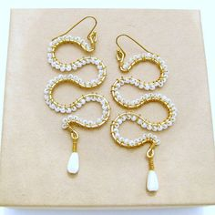 seed bead earrings wire wrapped white seed by CopperheadCreations, $38.00