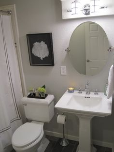 Nice bathroom - could try this for our small one...but the previous owners put the toilet alluponthesink!