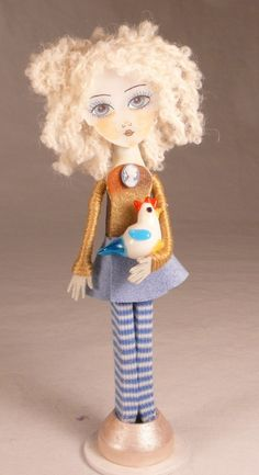 Clothespin Doll Art The Sky is Falling Handmade by DollProject