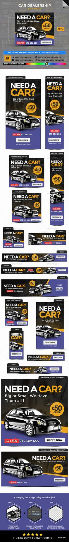 Car Dealership Banners Design Template - Banners & Ads Web Template PSD. Download here: https://graphicriver.net/item/car-dealership-banners/17104657?s_rank=268&ref=yinkira