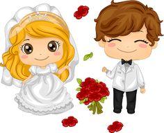 Toon Wedding Couple with Blondie Bride.