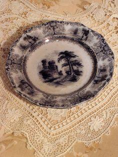 Antique Plate Mulberry Transferware Circa  1835-55 by DecojumeauAntiques