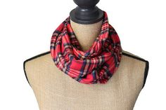 Red Plaid Infinity Scarf Flannel Scarve Loop by UrbanThreader