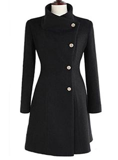 7a9357203feb Amazon.com  OURS Women s Lapel Long Wool Worsted Coat Long Sleeve Tweed  Winter Coat (S, Black)  Clothing