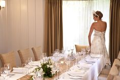 The Residence dining room for an elegant intimate wedding.