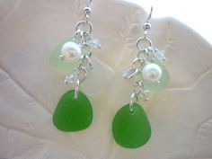 Pearl Sea Glass Earrings Chandelier Beach by TheMysticMermaid