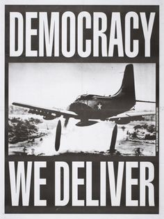 Stealworks/John Yates, 1993 Democracy ~ WE DELIVER  (bombs) http://www.creativereview.co.uk/cr-blog/2012/march/social-justice-posters-oakland