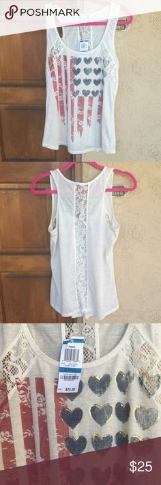 🆕 American Rag Tank 🇺🇸 ✨NWT✨ All-American cream tank top with lacey flag print by American Rag. Lace die-cut details on front and vertical stripe runs down back. Size XL (Junior fit). Comfortable 85% poly, 15% linen, lace: 100% poly. Never worn & no flaws. Perfect for July 4th or any patriotic event! 🚫No trades or Paypal. 👍15% off 3+ item bundles! American Rag Tops Tank Tops