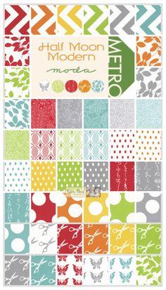 IM IN LOVE!!!!    -Half Moon Modern Fat Quarter Bundle - Patchwork Fabric - $185.00 : Fabric Patch, Patchwork Quilting fabrics, Moda fabric, Quilt Supplies, Patterns