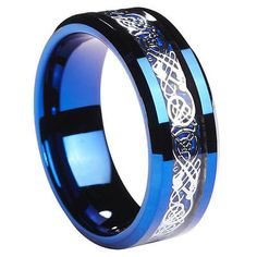 8mm Men's Blue Tungsten Carbide Celtic Knot Dragon Inlay Wedding Band Ring