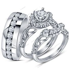New Disign 1.86 CT White Simulated Diamond Men's & Ladies Matching Trio Ring Set