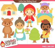 INSTANT DOWNLOAD - Little Red Riding Hood Combo Set - Color Clip Art and Digital Stamps - for personal and commercial use