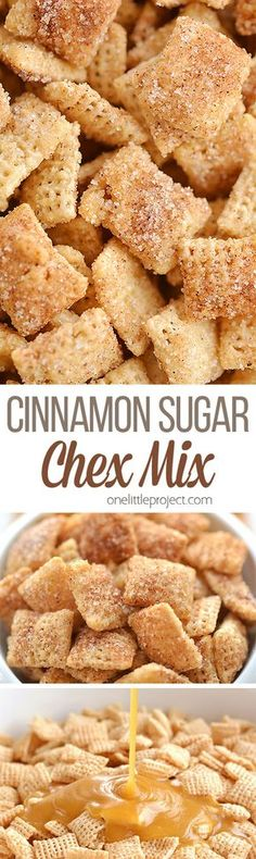Cinnamon Sugar Chex Mix: Easy, Delicious and Insanely Addictive! - Appetizers - This cinnamon sugar chex mix is SO GOOD. It& super easy to make, and the sweet buttery crunch - Snack Mix Recipes, Yummy Snacks, Cooking Recipes, Yummy Food, Snack Mixes, Cooking Ideas, Party Recipes, Appetizer Recipes, Healthy Snacks