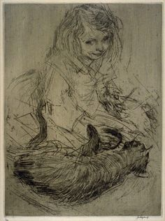 Joseph Raphael (American, 1869-1950) - Girl with a cat - Etching