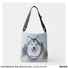 Cute Malamute dog watercolor pine tree winter blue Crossbody Bag I Love Dogs, Cute Dogs, Malamute Dog, Mouth Mask Fashion, Winter Blue, Pine Tree, Cute Photos, Dog Design, Dog Gifts