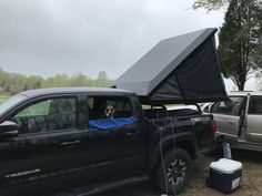 Click this image to show the full-size version. Diy Roof Top Tent, Diy Tent, Top Tents, Bed Bar, Popup Camper Remodel, Continuous Hinges, Best Ladder, Tacoma World, Truck Tent