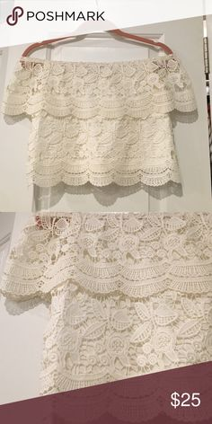 White lace off the shoulder scalloped crop Adorable staple lace off the shoulder, also selling denim skirt in last picture! ASOS Tops Crop Tops